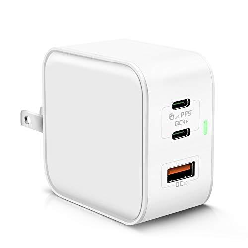 USB充電器 65W PD 充電器 USB-C 急速充電器ACアダプター【GaN (窒化ガリウム)採用/折畳式/PD&QC対応/2USB-C...