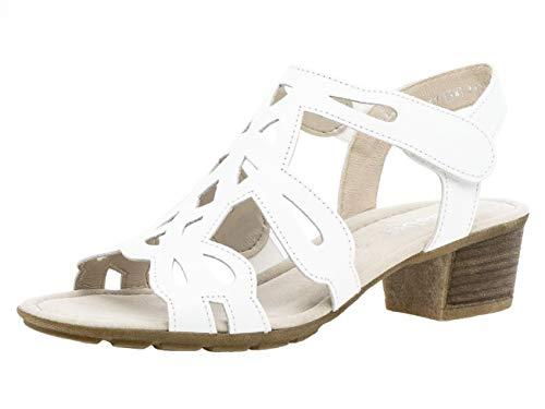 Gabor Damen Sandaletten 24.561.21, Frauen Sandaletten,Sommerschuhe,offene Absatzschuhe,hoher Absatz,Weiss,40 EU / 6.5 UK