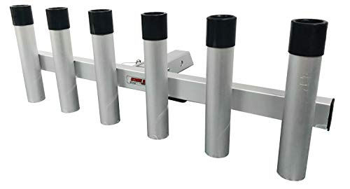 """Extreme Max 3005.4275 Aluminum Pivoting Fishing Rod Holder for 2"""" Hitch Receivers - 6-Rod Capacity"""