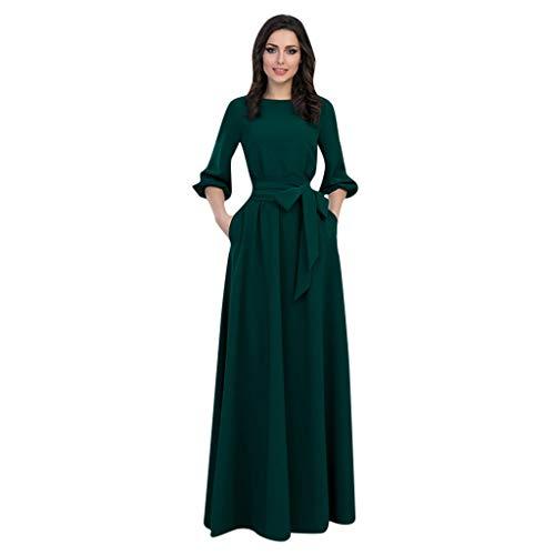 Zottom Mode Frühjahr und Herbst Frau Hepburn Stil Elegante Retro Laterne Ärmel Rundhals hohe Taille Knöchelrock Freizeitkleid Kleid(Grün,X-Large)