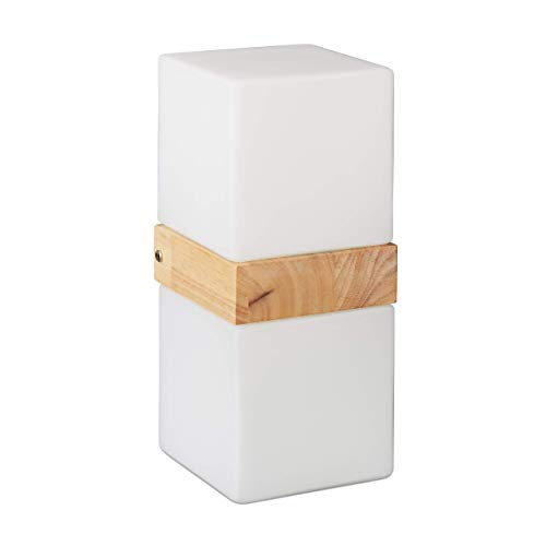 Relaxdays Wandleuchte Quader, 2-flammig, Wandlampe E27, Up Down Light, Milchglas, Holz, HBT: 28x12x12 cm, weiß/Natur