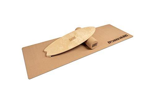 BoarderKING - Indoorboard Raw Wood Modelle - inkl. Rolle und Matte Skateboard Surfboard Trickboard Balanceboard Balance Board (Wave Raw (150x45 Korkrolle))