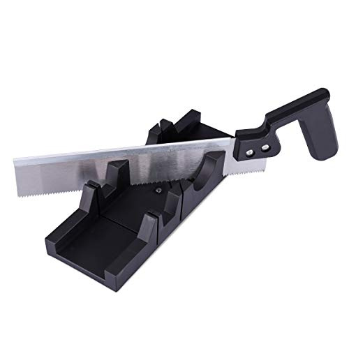 Navaris Gehrungslade mit 250mm Feinsäge Set - Winkelschneider mit 30° 45° 90° Schnittwinkel - Schneidlade mit Haltenoppen - Gehrungsschneidlade