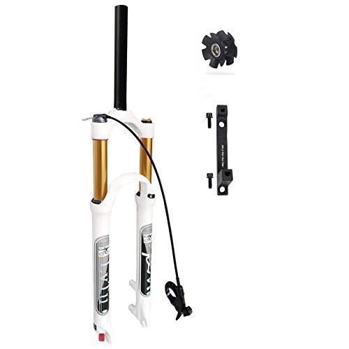 WYJW Horquilla Delantera de Bicicleta MTB 26 27,5 29 Pulgadas de Recorrido 140 mm, Horquillas de suspensión neumática ultraligeras con Adaptador de Freno de Disco de 180 mm