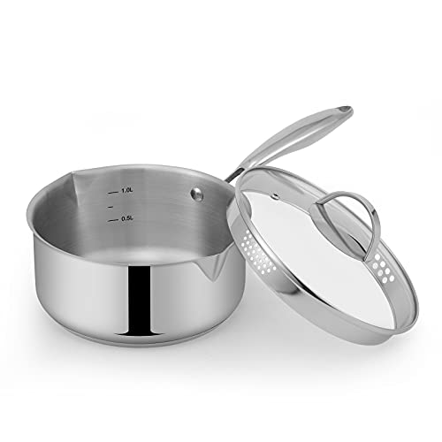 Mr Rudolf Stainless Steel Saucepan with Glass Lid, Strainer Lid, Two Side Spouts for Easy Pour with Ergonomic Handle, Multipurpose Sauce Pan with Lid, Sauce Pot (Tri-Ply Capsule Bottom, 2.0 Quart)