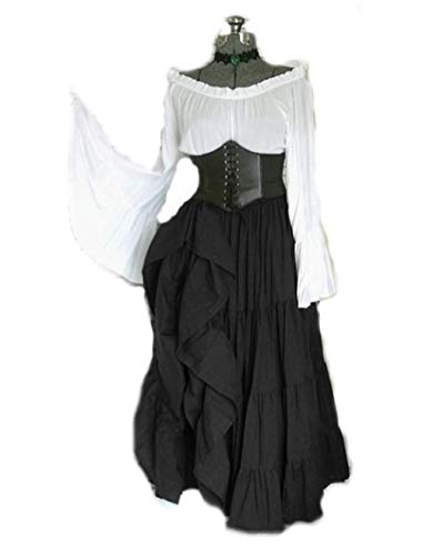 Fnho Vestido Vintage Mujer Medievales,Renacentista Disfraz Medieval para Mujer Vestido,Vestido de Corte Medieval, de Talle Alto y Largo Vestido-Negro_XL