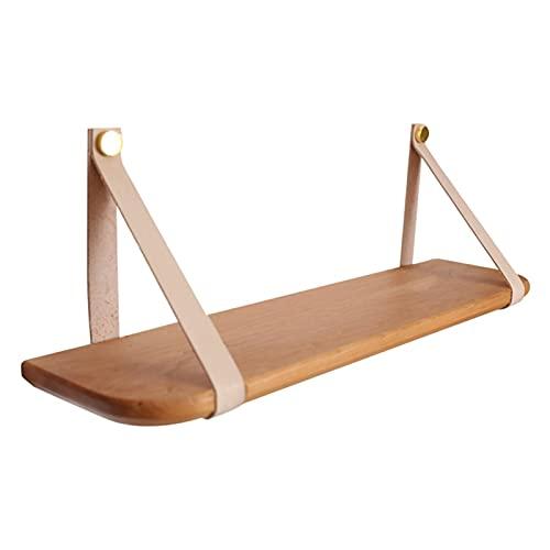 Visa rack Hängande hylla vägg trä flytande förvaring hyllor läderband swing arrangör för sovrum vardagsrum kök och kontor 1-lager (färg: naturlig) Lagringsarrangör