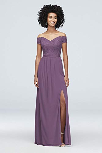 Off-The-Shoulder Lace and Mesh Bridesmaid Dress Style F19950, Wisteria, 2