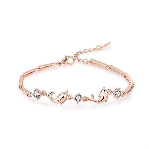 Bianlang Braccialetto del delfino dell'oro della rosa, braccialetto della celebrità della rete femminile, braccialetto del delfino dello zircone con borchie a diamante, gioielli alla moda della moda d