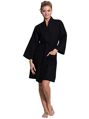 Turkuoise Linen Lightweight Knee Length Waffle Kimono Bath and Spa Robe Black, XX-Large