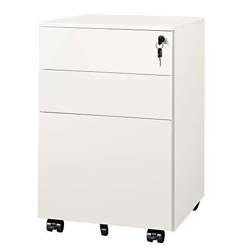 DEVAISE Locking File Cabinet, 3 Drawer Rolling Pedestal Under Desk, Fully Assembled Except Casters, White