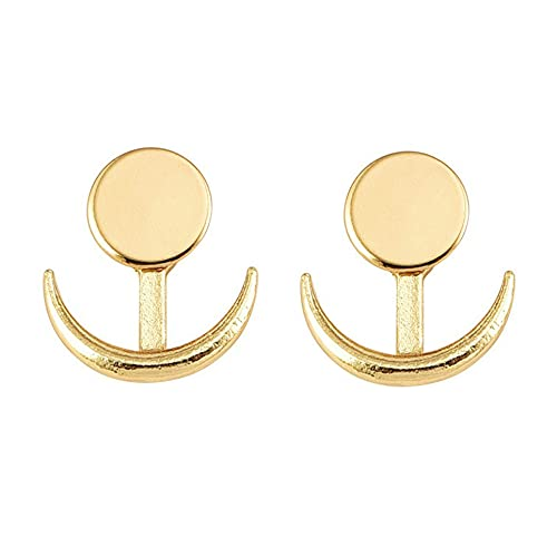 WEFH Pendiente de Luna para Mujer Pendientes de botón de aro Pendientes de Hebilla de Amantes de Color Dorado, Dorado