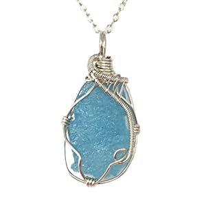 Raw Genuine Aquamarine Necklace - Blue Aquamarine Crystal Pendant Necklace - 18 Inch Sterling Silver Chain - March Birthstone - Gift for Her - Mother's Day Gift - Gift for Mom