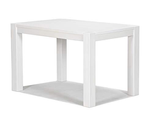 Naturholzmöbel Seidel Esstisch 100x70cm Rio Bonito Farbton White Grain Pinie Massivholz Landhaus Weiss Tisch Kanten im leichten Vintage Used Look