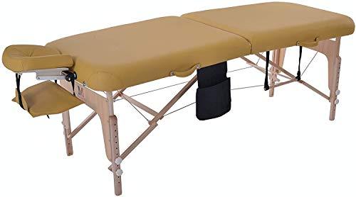 MASSUNDA COMFORT DELUXE - Lettino da massaggio pieghevole con altezza regolabile, lettino da massaggio portatile in legno massello, braccioli, cuscini per il collo, poggiatesta ergonomico