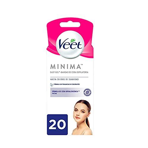 Veet Bandas Depilatorias de Cera Fría Facial para pieles hipoalergénicas - 20 bandas y 2 toallitas de acabado óptimo