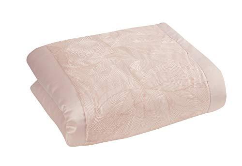 Sleepdown Tagesdecke mit Pailletten, Blättermuster, Blumenmuster, Rosa, Polyester & Baumwolle, Blush Pink, Bedspread 150cm x 200cm