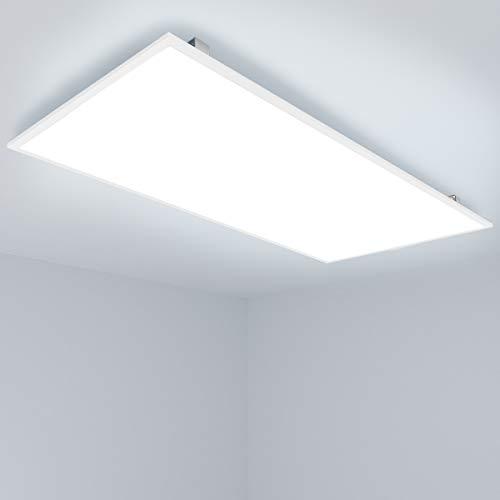 Allesin Dalle LED Panneau Luminaire, Plafonnier LED (72W, 120x60cm, 5000 Lumen, 6000K Lumière Blanc Froid, Cadre Argenté) Panneau Lumineux LED pour Bureau, Salon, Cuisine, Encastré ou Suspendue