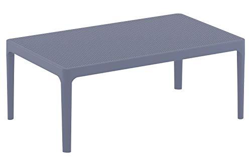 Table Lounge Sky - Table de Jardin Résistante aux Intempéries et aux Rayons UV - Table de Jardin en Plastique - Couleur au Choix :, Couleurs:Gris foncé
