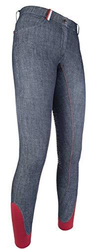 HKM County - Pantaloni da Equitazione in Denim e Silicone al Ginocchio 6100, Unisex - Adulto, Pantaloni, 4057052222696, 6100 Blu Jeans, 134