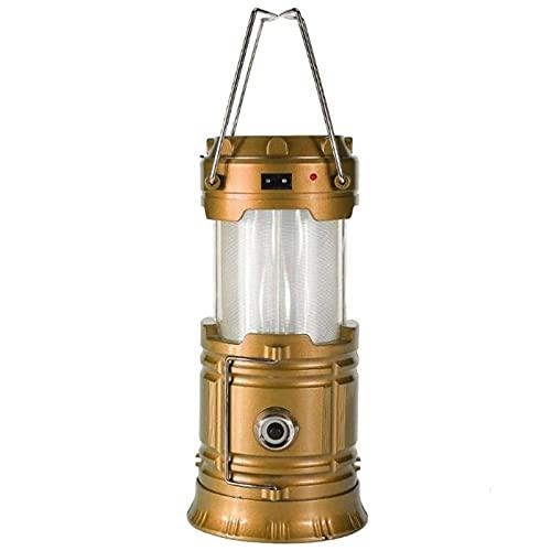 SJNSJN Lampara de Camping, Faroles Portátiles LED Lámpara Exterior Plegable, Luz de Emergencia, Solar/USB Carga, Luz de Carpa Resistente al Agua para Acampar, Caminar, Pescar, Cortes de Energía,Oro