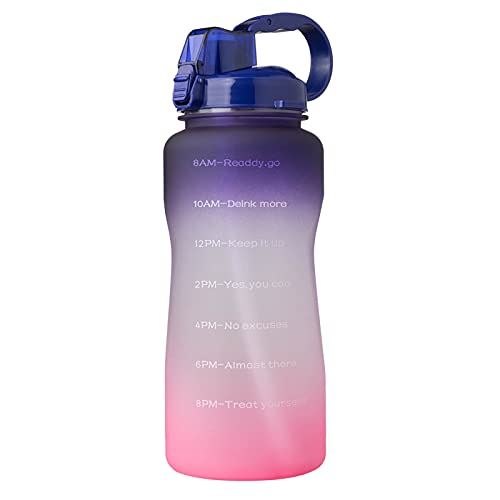 QAZW 1 Gallon/128 oz Motivational Water Bottle with Time Marker/Straw, Leakproof Tritan BPA Free Water Jug,Large Capacity Water Bottle for Fitness Gym Camping Outdoor Sports,Purple/Pink-2L