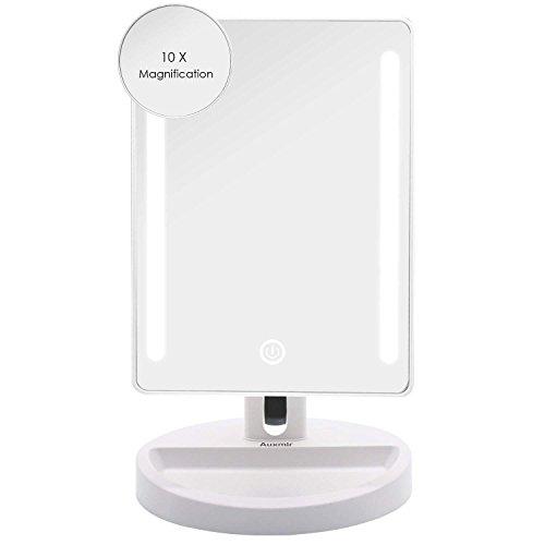 Auxmir Kosmetikspiegel mit LED Beleuchtung, Schminkspiegel mit licht, Tischspiegel mit Blendfreier Beleuchtung und Dimmbarer Helligkeit für Schminken, Rasieren und Gesichtspflege
