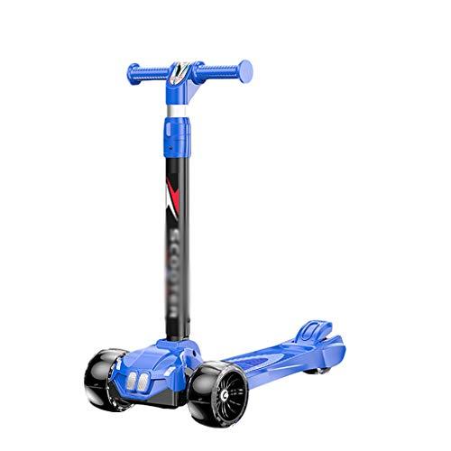 ZZL Scooter Stunt Scooters Patinete de altura ajustable extra ancha para niños, niñas y niños, ruedas intermitentes de inclinación a dirección (color azul)
