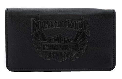 Harley-Davidson Men's Ride Away Trucker Leather Wallet w/RFID Protection - Black