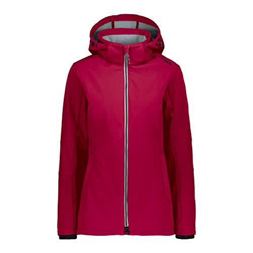 CMP – F.LLI Campagnolo Damen Comfort Fit Long Softshelljacke mit ClimaProtect-Technologie Jacket, Rhodamine, D48