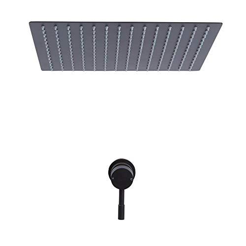 Hudson Reed Nox - Doucheset 1-weg Inbouw Thermostatisch Incl. Inbouw Plafond Douchekop 40 x 40cm Mat Zwart