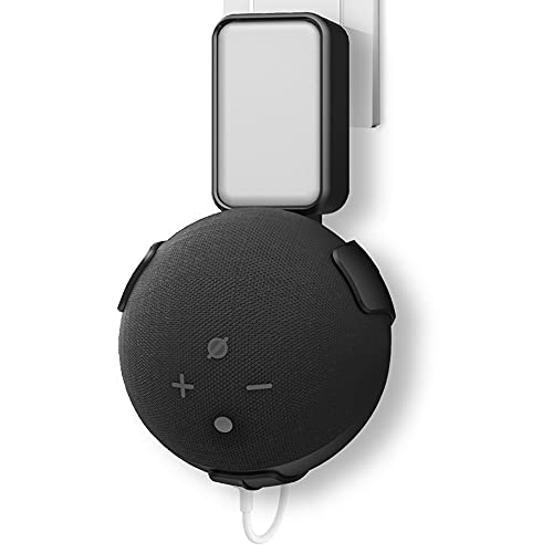 Proud Bird Dot Wall Mount for Dot 4th Gen Holder Plug Keeps Speaker Sound Front Firing, Compact Safety Built-in Cord Management for Kitchen, Bedroom, Bathroom, Black