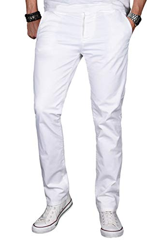 A. Salvarini Herren Designer Chino Stretch Stoff Hose Chinohose Regular Slim mit Elasthananteil AS024 [AS-024-Weiss-W34 L30]