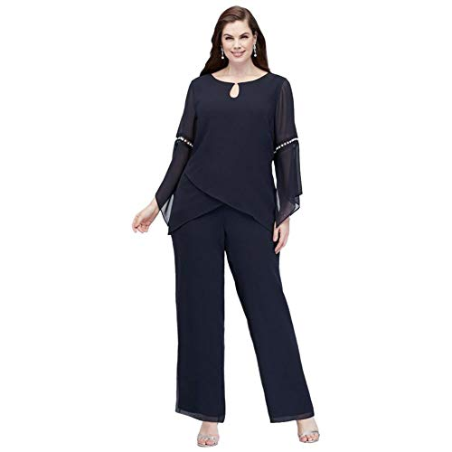 David's Bridal Plus Size Georgette Pantsuit with Beaded Inset Sleeves Style 27992, Navy, 16W
