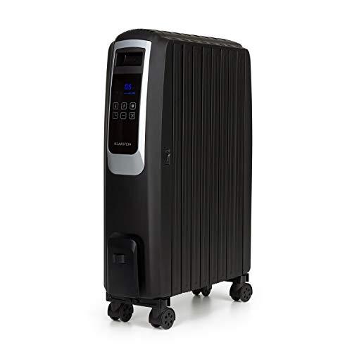 Klarstein Thermaxx Noir Ölradiator, 2500 W Leistung, 3 Stufen, Temperaturbereich: 10-30° C, 24-h-Timer für On-/Off-Funktion, Double U-Shape Heizrohr, MX-ThermalFin Design mit 10 Heizrippen, schwarz