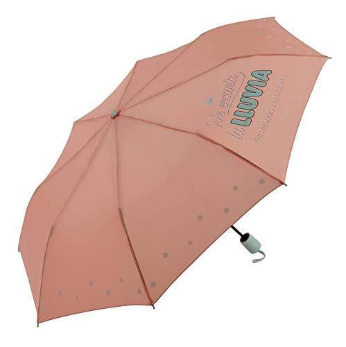 Paraguas Plegable automático Mr. Wonderful Me Encanta la Lluvia (los domingos y en la Cama) Salmón
