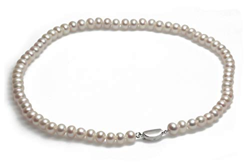 Schmuckwilli echte Perlen Süßwasserperlen Perlenkette weiß mit 925 sterling Silber Verschluß 45cm 6-7mm dsk0005-45
