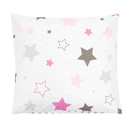 TupTam Kinder Kissenbezug Dekorativ Gemustert, Farbe: Sterne Rosa/Grau, Größe: 40 x 40 cm