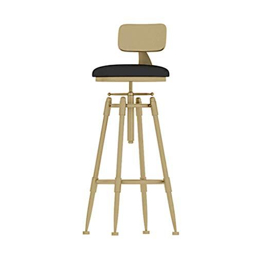 LAXF- Sillas Taburete de Barra de Altura Ajustable para la Cocina del Pub, Silla de mostrador, Oro + Blanco