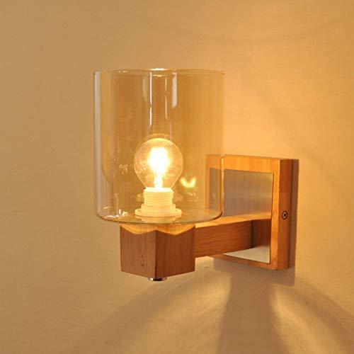 L-YINGZON Lámpara de pared de vidrio Industrial E27, iluminación de madera con lámpara de pared for mesita de noche Lámpara de interior decorativo