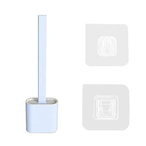 Sallyohno Toilettenbürste,WC Bürste und Halter,Badezimmer und Toilette Badaccessoires Silikon Toilettenbürste set mit Schnell Trocknendem Haltersatz,36.5×9.8×4.3cm,ABS+ TPR (Blue)