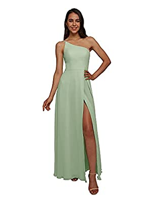 AW BRIDAL One Shoulder Chiffon Sage Green Bridesmaid Dresses Long Formal Dresses for Women Party Wedding Evening, US12