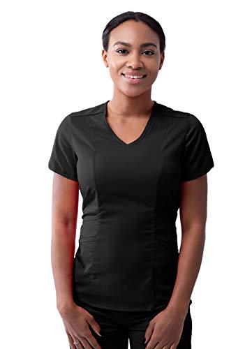 Adar Pro Scrubs for Women - Modern V-Neck Scrub Top - P7002 - Black - S