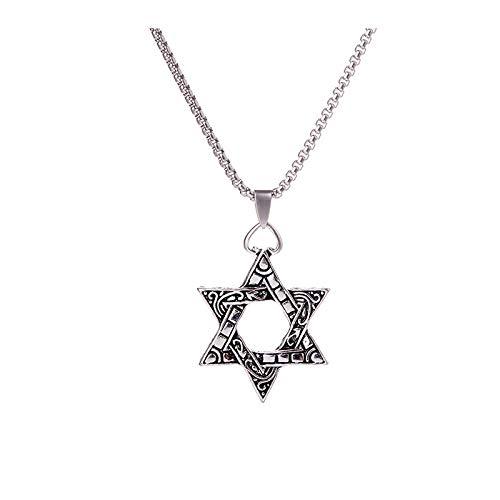 YUNMENG Moda Estrella de David de Seis Puntas de aleación de Metal hexagrama Colgante Collar para Hombres niños Mujeres Punk Hiphop Collar Colgante joyería