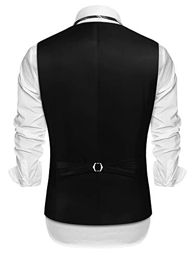 COOFANDY Mens Cowboy Suede Leather Costume Clothing Layered Style Dress Vest Waistcoat Black