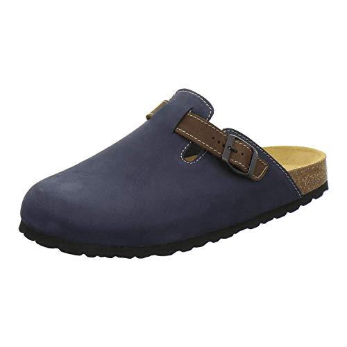 AFS-Schuhe 3900 Herren Clogs, Bequeme Hausschuhe für Männer, Pantoffeln aus Leder, Made in Germany (43 EU, Navy Nubuk)