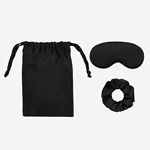 3pcs Silk Travel Set Storage Bag Hair Care Soft Scrunchy and Adjustable Strap Soft Sleep Eyemask Blackout Eye Mask