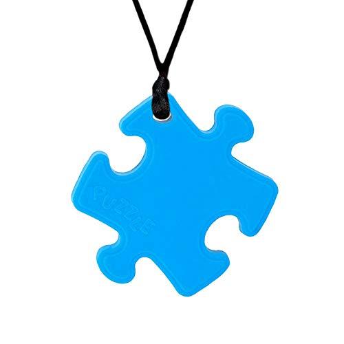 Collar Mordedor, Yuccer Silicona MasticarJuguetes Sensorial Colgante Mordedor Motor Oral para Autismo, ADHD, Necesidades Especiales, Niños, Adultos (Azul)