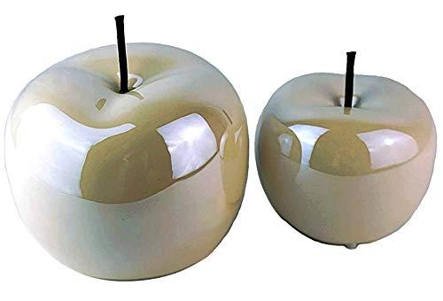 Juego de 2 figuras decorativas de cristal con forma de manzana, color blanco perla, de cerámica brillante, 15 cm de diámetro, 12 cm de altura, modernas figuras de cerámica, para el salón o la fruta