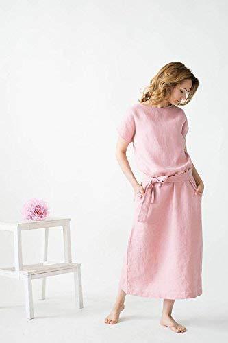 Dusty Rose Linen Dress - Loose Summer Women Dress - Linen Long Tunic Dress